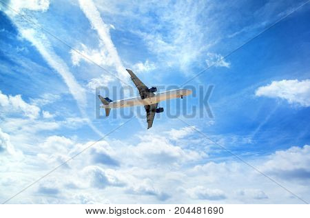 Airplane in the sky. Travel concept image