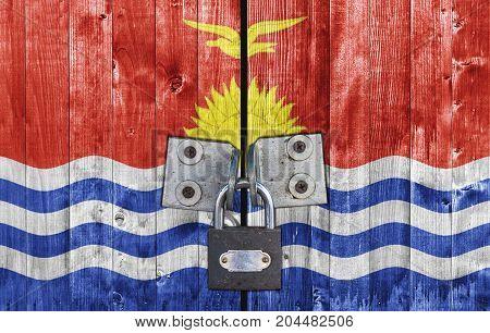 Kiribati flag on door with padlock close