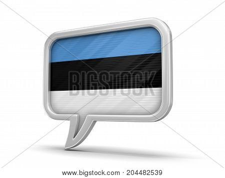 3d illustration. Speech bubble with Estonian flag. Image with clipping path