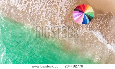 Colorful Of Umbrella On The Beach.