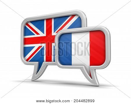 3d illustration. Speech bubbles with France and UK flags. Image with clipping path
