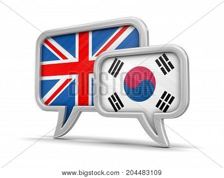 3d illustration. Speech bubbles with South Korea and UK flags. Image with clipping path