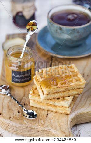 Belgian Waffles With Orange Marmalade
