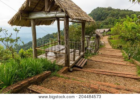 Mountainside huts for viewing the landscape at Mon Chaem in Chiang Mai Thailand