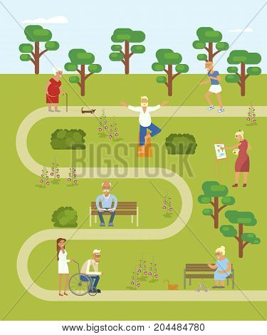 Map of the park with walking Grandpa and grandma. Banner of Retired elderly senior age couple in flat character design. Grandparents with walking stick and invalid chair outdoor isolated. Vector eps 10