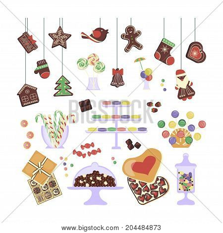 Sweets, Christmas Gingerbreads and honey-cakes set. Glass jars and vase with different candies. Vector illustration eps 10