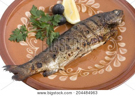 Baked carp on a clay plate with lemon, parsley and olives. Photo can be used as a whole background.