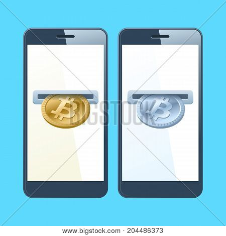 Two mobile phones and bitcoins. A coin slotes with gold and silver bitcoins are inserting at the screen. Money, banking, online payment, buying, cash concept. Vector flat material design illustration.