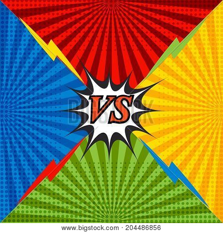 Comic confrontation bright background with four opposite sides, lightnings, speech bubble, radial and halftone effects in red, blue, orange and green colors. Vector illustration