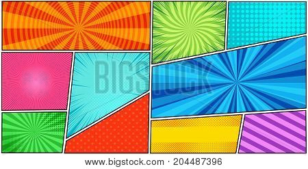 Comic book page background with radial, dotted, halftone effects, circles, slanted lines in pop-art style. Blank horizontal template. Vector illustration