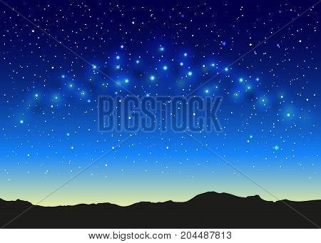 Blue space landscape with milky way, mountains silhouette, and stars.