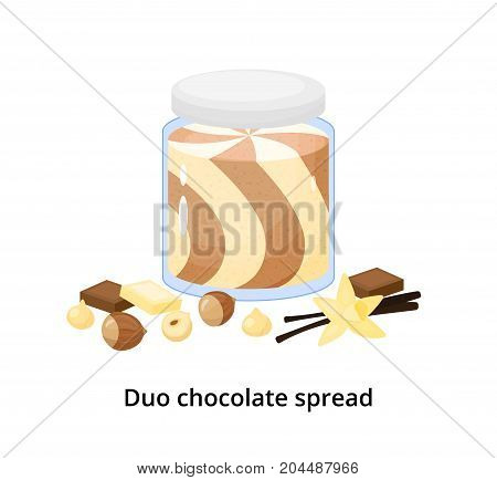 Cartoon duo chocolate spread with hazelnuts and vanilla flower isolated on white background.
