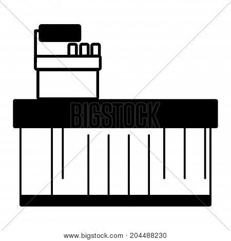 contour cash register technology to check products vector illustration