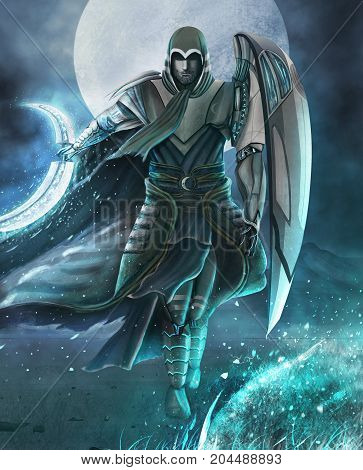prince of the moon with a sickle sword, gallantly running back to the full moon