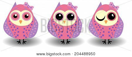 A Set Of Three Lovely Owls-girls In Pink-lilac Tones In Circles With Bows On The Ears And Different