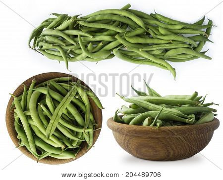 Set of green beans. Fresh green beans isolated on a white background. Green beans with copy space for text. Top view.
