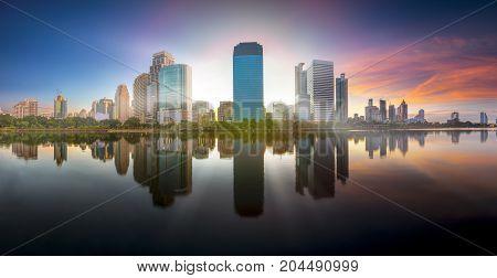 Bangkok Panorama ,aerial View Of Bangkok Modern Office Buildings And Condominium