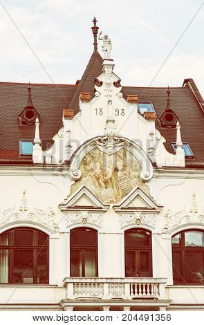 The Beggar's house in Kosice Slovak republic. Architectural scene. Beauty photo filter.