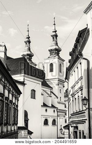 St. Michael church in Brno Moravia Czech republic. Religious architecture. Black and white photo.