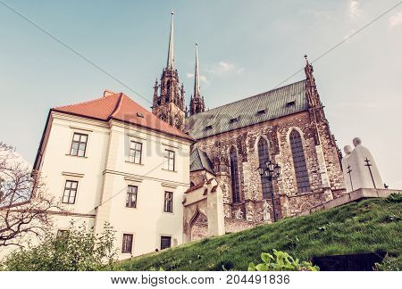 Famous Cathedral of St. Peter and Paul Brno Moravia Czech republic. Travel destination. Religious architecture. Red photo filter.