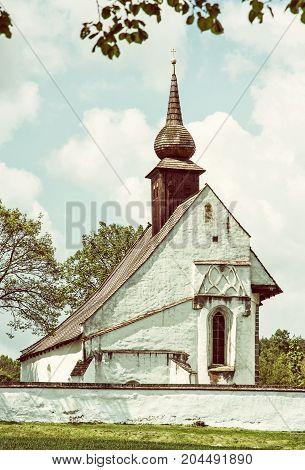 Chapel of Our Mother God near Veveri castle Moravia Czech republic. Travel destination. Religious architecture. Retro photo filter.