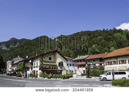 Kobarid Slovenia - August 08 2017: Small village Kobarid starting point for Soca rafting Goriska Brda Slovenia