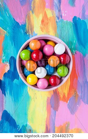 bubble gummy candies on a colourful background