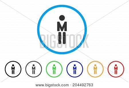 Man icon. Vector illustration style is a flat iconic man gray rounded symbol inside light blue circle with black, gray, green, blue, red, orange color variants.
