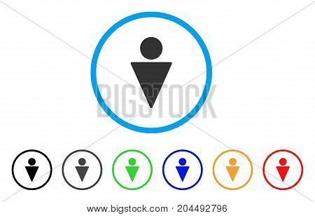 Man icon. Vector illustration style is a flat iconic man gray rounded symbol inside light blue circle with black, gray, green, blue, red, orange color versions.