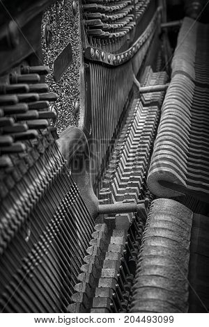 Inside old piano view. Black and white hdr image.