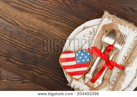 Tableware And Heart Shaped Cookies With American Flag, Top View