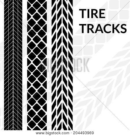 Tire tracks wheel car different black dark vector trail. Print silhouette.
