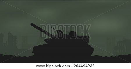 Battle tank and destroyed houses. Battle tank and destroyed houses.