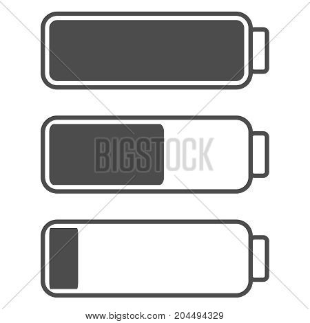 Smartphone or cell phone low battery icon. Low energy symbol. Flat vector illustration. Black and white.
