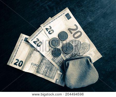 close up photo of euro money .