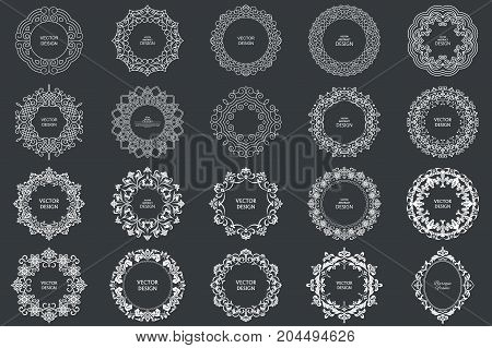 Monogram vintage frames. Circular baroque patterns. Round floral ornaments. Greeting cards. Wedding invitations. Retro style. Vector logo template labels and badges.