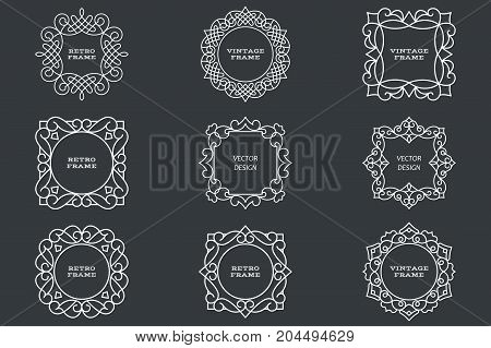 Monogram line vintage frames. Greeting cards. Wedding invitations. Retro style. Vector logo template labels and badges. Circular patterns. Round ornaments. Old fashion style. set