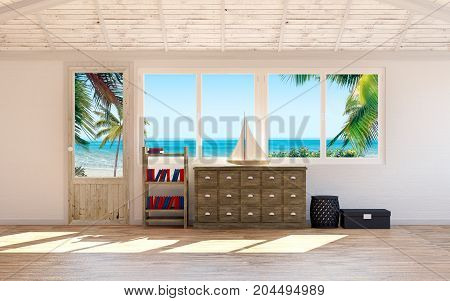flat beach house interior with palm and sea at window. 3d illustration
