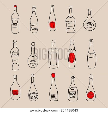 Collection Of Stylized Hand-drawn Spirits For Design