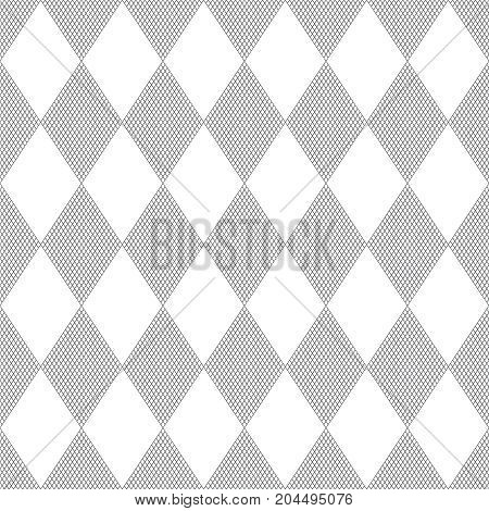Vector seamless pattern. Stylish abstract geometric background. Modern linear texture with thin lines. Regularly repeating geometrical tiled grid with striped rhombuses diamonds. Trendy design