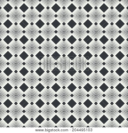Vector seamless pattern. Abstract textured background. Modern geometric texture with regularly repeating geometrical tiles with rhombuses diamonds corners thin lines.