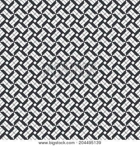 Vector seamless pattern. Infinitely repeating simple elegant texture consisting of crosses rhombuses diamonds triangles thin lines. Geometrical cover surface.