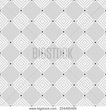 Vector seamless pattern. Infinitely repeating stylish modern texture consisting of small dots which form geometrcial tiles with dotted rhombuses diamonds.