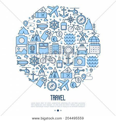 Travel and vacation concept in circle with thin line icons: plane, tickets, hotel, sights and place for text. Vector illustration for banner, web page, print media.
