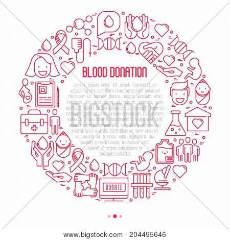 Blood donation concept in circle with thin line icons and place for text. World blood donor day. Vector illustration for web page, banner, print media.