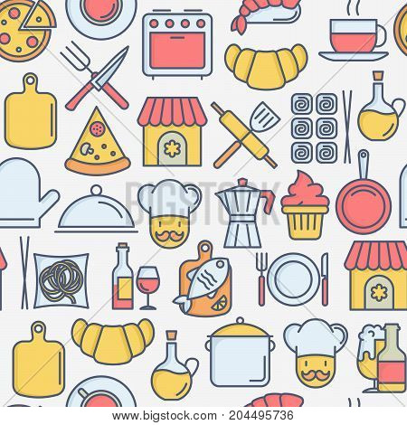 Restaurant concept seamless pattern with thin line icons: chef, kitchenware, food, beverages for menu or print media. Vector illustration for banner, web page.