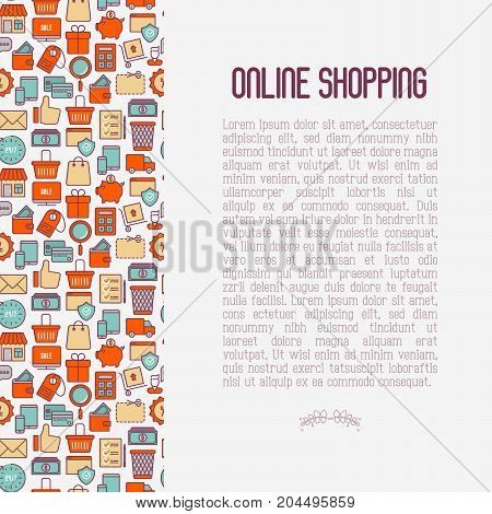 E-commerce, shopping concept with thin line icons: shopping cart, payment method, delivery, sale. Vector illustration for background of banner, web page, print media with place for text.
