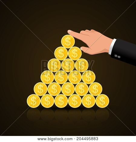 The businessman's hand supporting a financial pyramid.World business concept.Vector illustration in flat style.