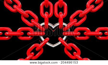 3d rendering of red Chains Locked with a Metallic heart. Metallic Heart link in a red chains isolated on black background. strong love
