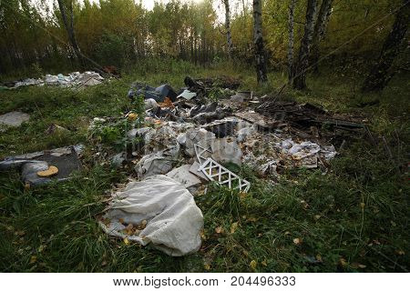 Illegal Dumping Of Household Waste In The Forest. The Global Problem Of Pollution.